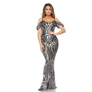 Dresses & Skirts - Sequin beaded off shoulder maxi dress gown